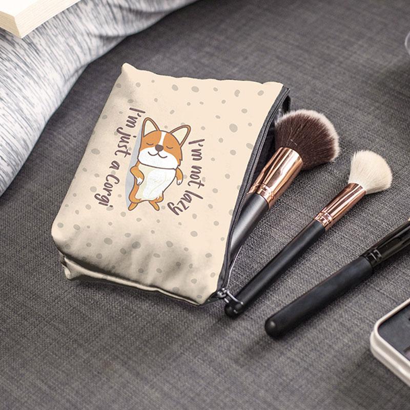 Makeup Bags Women Cosmetic Bag oiletry bag lazy corgi Printing Cosmetics Pouchs For Travel make up b