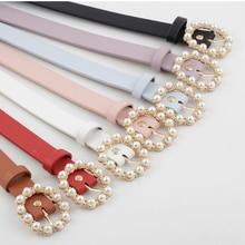 Hot Fashion Women PU Belt Metal Buckle Round Pin Buckle Pearl Belt Waistband Student Wild Jeans Dress Waist Strap cinturon mujer