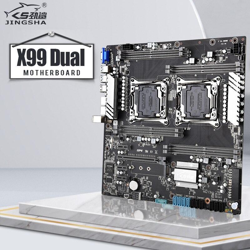 Jingsha X99 dual CPU placa base LGA 2011V3 V4 soporte 8-Canal 2133/ 2400mhz RAM 10 * SATA 3,0 NVME_M.2 SSD