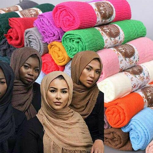 170*68cm Women Muslim Crinkle Hijab Scarf Femme Musulman Soft Cotton Headscarf Islamic Hijab Shawls