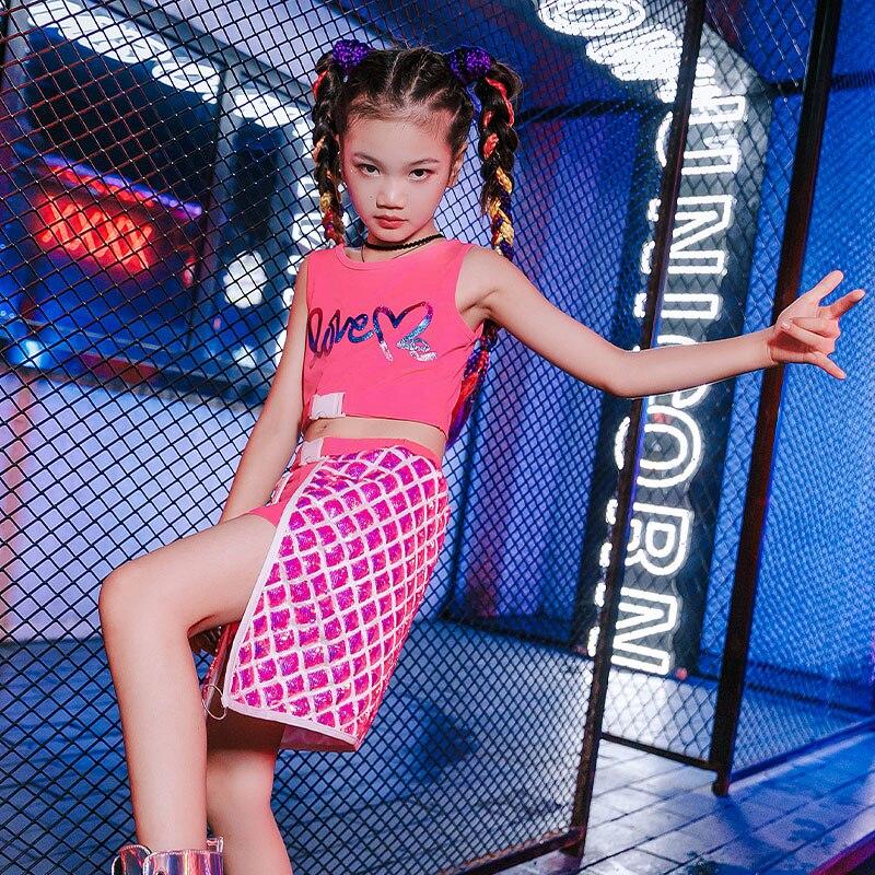 الفتيات الجاز ملابس الرقص عيد الأطفال العصرية زي الهيب هوب الوردي دعوى الفتيات الحديثة الشارع الرقص الملابس الهذيان وتتسابق