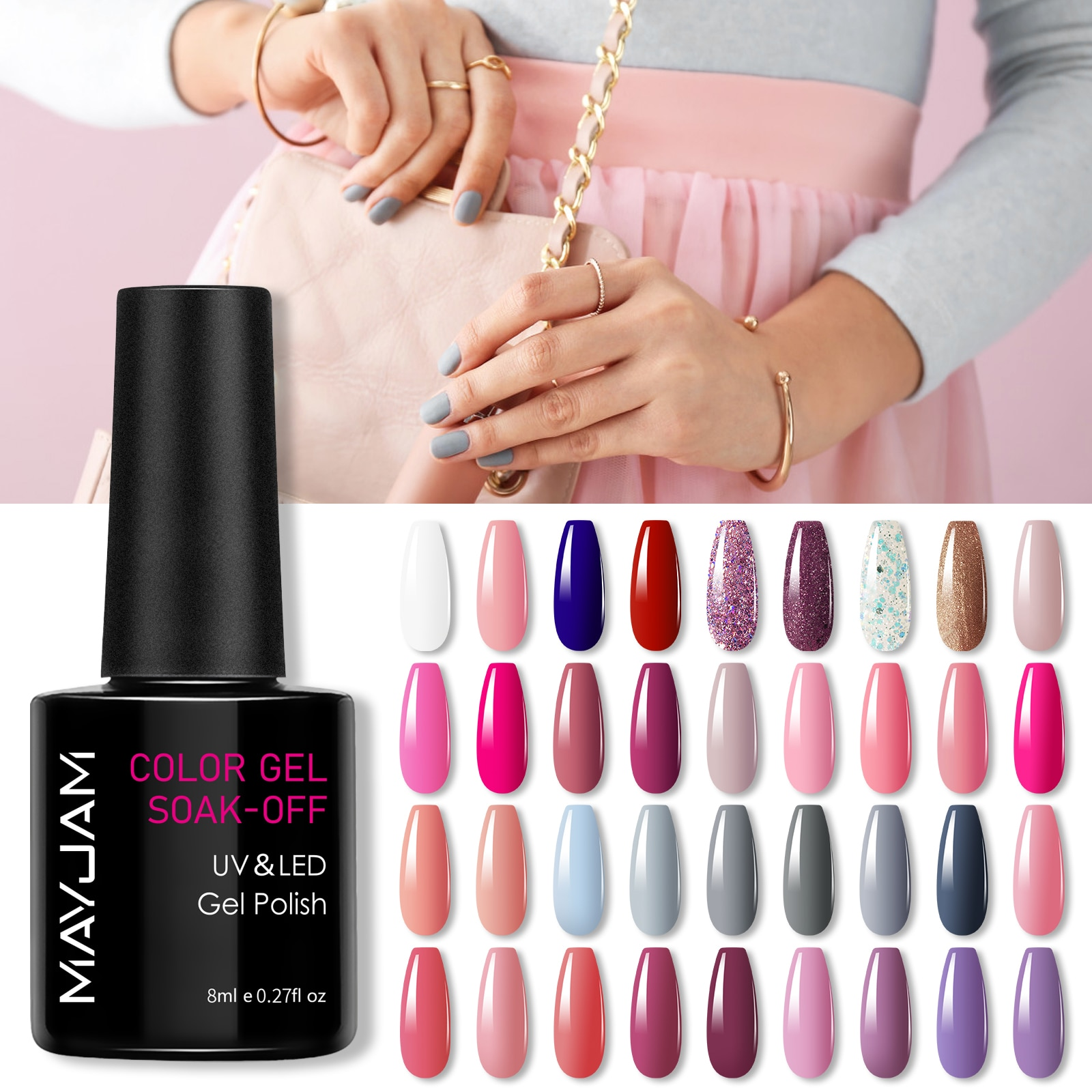 8ml MAYJAM Nail Gel Summer Color Series Semi Permanent Varnish Soak Off UV Gel Nail Polish Lacquer Top Base Coat Nail Art Design недорого
