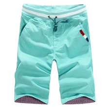 Men Casual Shorts Pants New Summer Men Elastic Waist Shorts  Knee Length Male Cotton Casual Short Pa