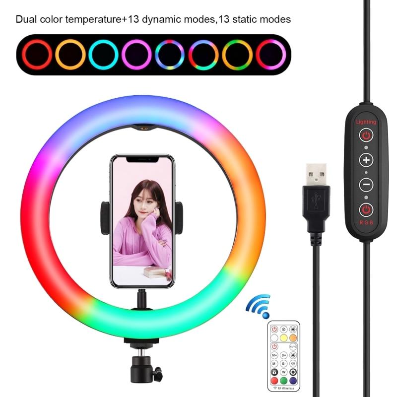 Iluminación de fotografía de 10 pulgadas RGB LED Selfie Ring Light con soporte de teléfono Control remoto para TikTok YouTube Video Live Ring Light
