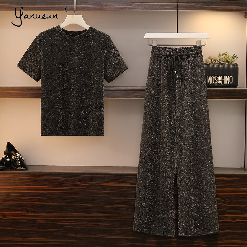 Yanueun Womens Suits O-Neck T-Shirt Tops+Sashes Elastic Waist Wide Leg Trousers Solid Bright Silk Drapped Plus Size 2-Piece Sets