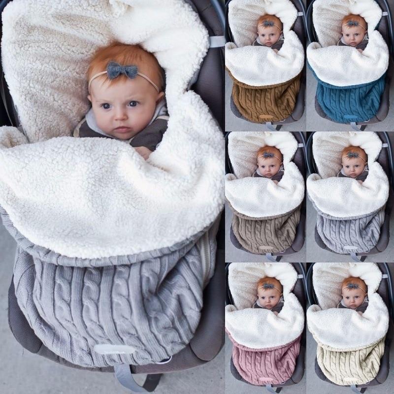 Новинка 2019, зимний теплый вязаный спальный мешок для новорожденных, 2019 спальный мешок для новорожденных
