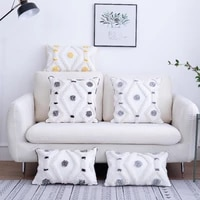 modern simplicity tufted embroidery cushion cover patchwork throw pillowcover cotton canvas home decoration pillowcase 40689