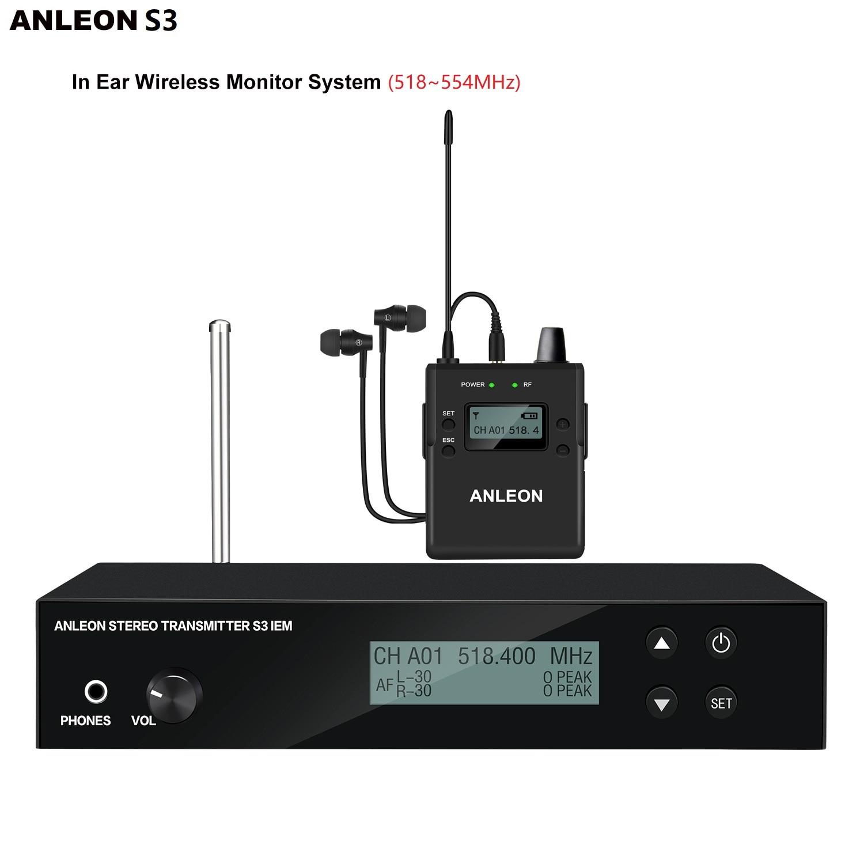 جهاز مراقبة داخل الأذن أصلي ANLEON S3 UHF ستيريو لاسلكي بنظام IEM 518-554 ميجاهرتز مراقبة للأذن احترافية مرحلة الصوت الرقمي
