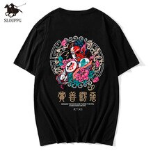 Tendance chinoise haut marque streetwear Harajuku 100% coton hommes T-shirt Hip Hop col rond manches courtes fantôme impression T-shirt hommes