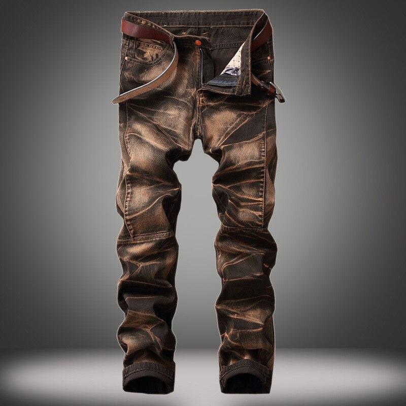 Мужские джинсы, Четырехцветные брюки, старые прямые ретро-джинсы, мужские джинсы стрейч, мужские потертые джинсы, байкерские джинсы