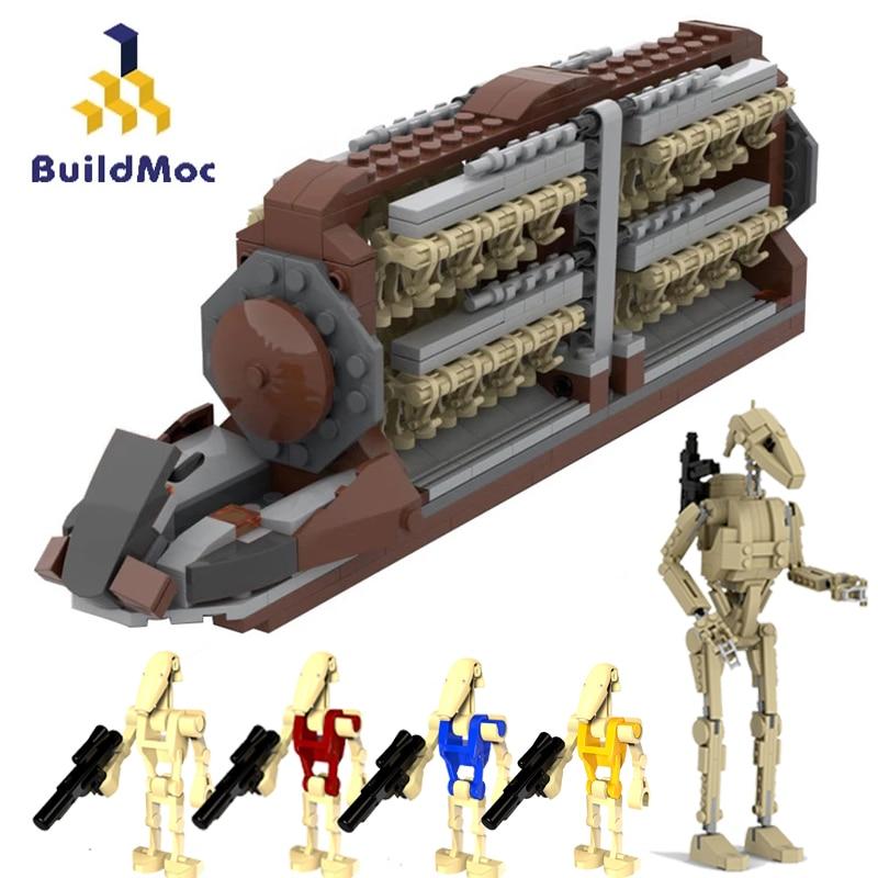Конструктор MOC Star Movie Droid Platoon Attack-Craft, фигурки космических боевых дроидов, транспортный линкор, детские игрушки, подарок