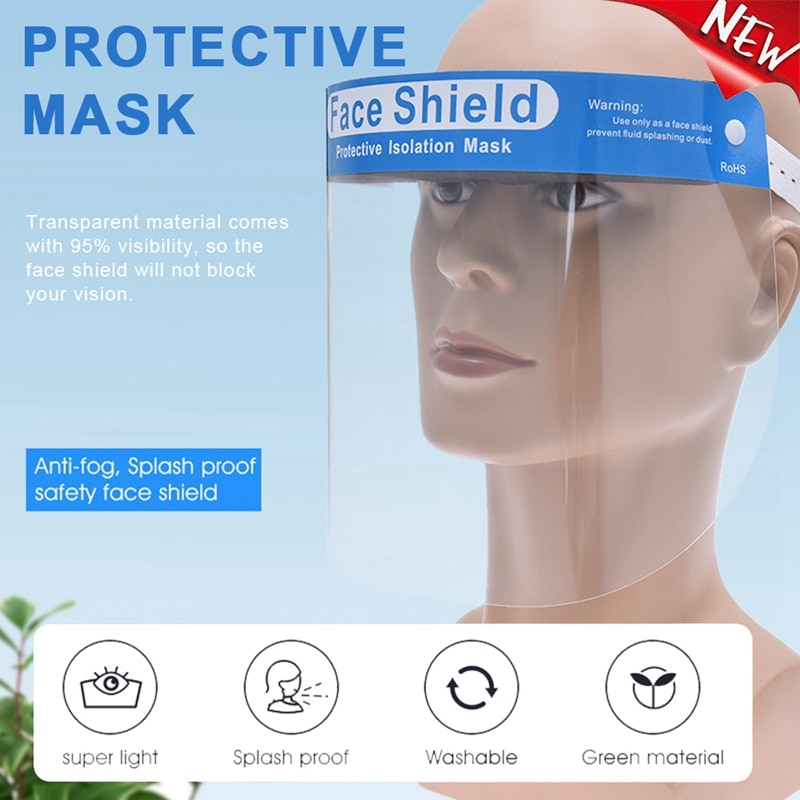 Transparent Face Shield Anti Saliva Anti-droplet Plastic Protective rotective Faceshield Cover Visor Dust Proof Fog Full Screen