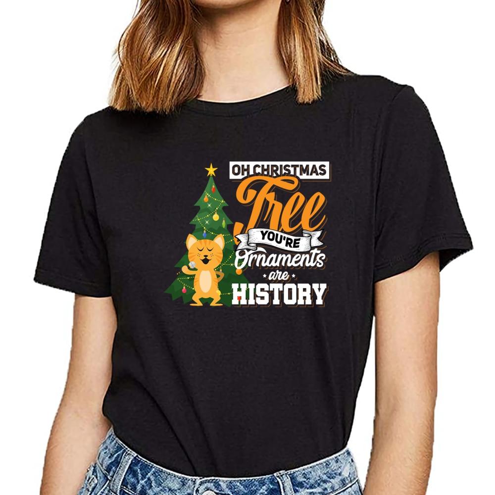 Camisetas para mujer o árbol de Navidad tus adornos son historia gato básico negro personalizado camiseta femenina