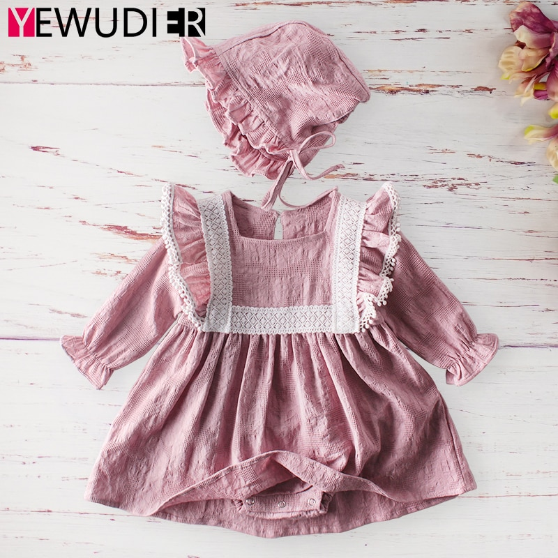 Spring Autumn Baby Girls Outfits Cute Lace Patchwork Rompers Newborn Long Sleeve Cotton Jumpsuits On