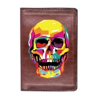 personalized colorful skull printing passport caser classic men women id credit card cover travel leather holder