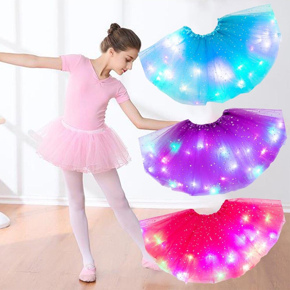 Ropa de niñas mullidas para niños luz mágica moda princesa ropa para fiesta estrellas lentejuelas Ballet purpurina Pettiskirt tutú falda de tul