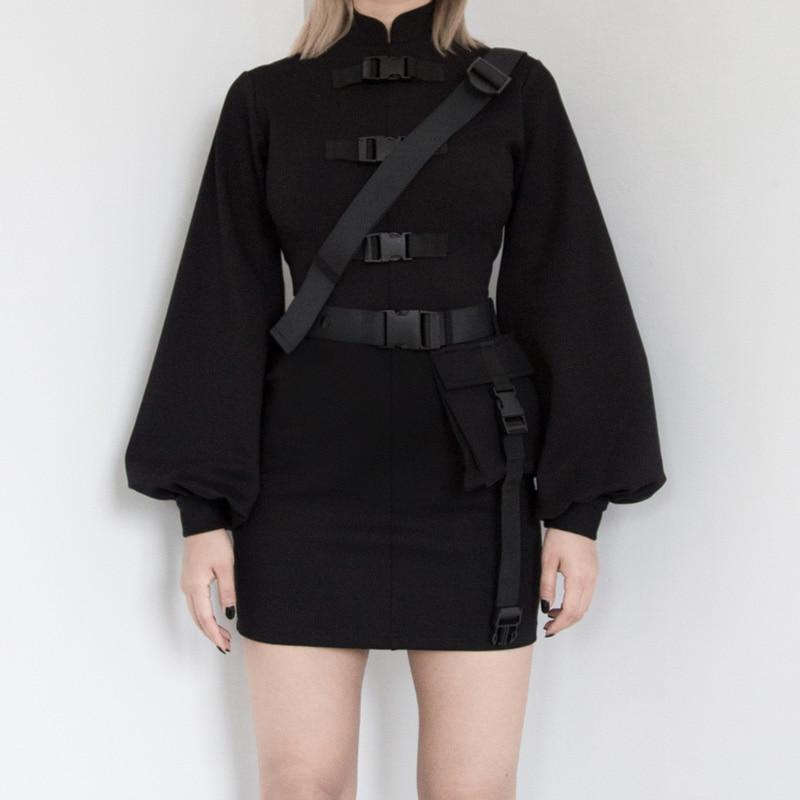 InsGoth Punk negro hebilla Mini vestido ajustado Vintage manga larga cheongsam mujeres vestido Streetwear gótico vestidos femeninos