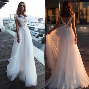 O Neck Cap Sleeve Wedding Dress Lace Applique Beach Elegant Bridal Dresses Bohemian Style noivas vestidos de noiva Floor Length
