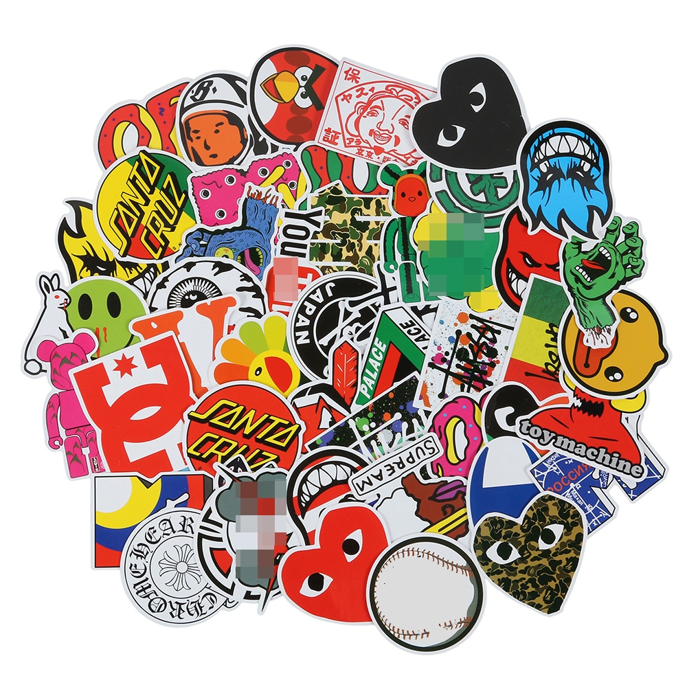 100 PCS Skateboard Fashion Brand Logo Waterproof Sticker For Luggage Car Guaitar Skateboard Phone La