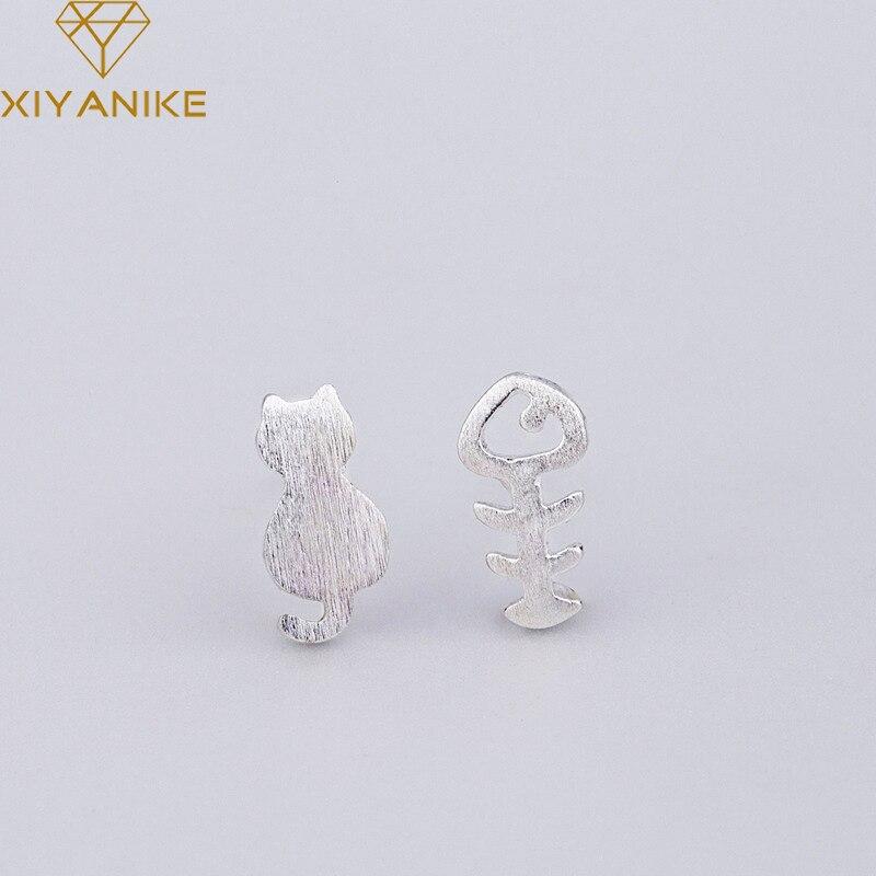 XIYANIKE 925 Sterling Silver Asymmetry Cute Cat fish Bone Stud Earrings For Women Girls Gift Handmad