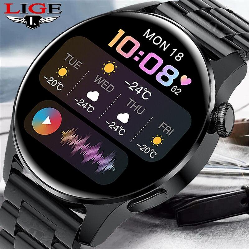 LIGE بلوتوث دعوة ساعة ذكية رجالي مناسبة لهواوي أندرويد IOS الرياضة معدل ضربات القلب متعددة الوظائف 2021 جديد Smartwatch الرجال