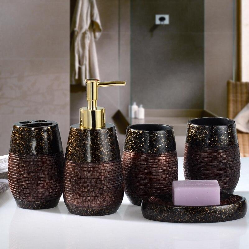 Bathroom Set Ceramic Washroom Toilet Suit Toothbrush Holder Lotion Dispenser Soap Dish Tooth Mug Accessories enlarge
