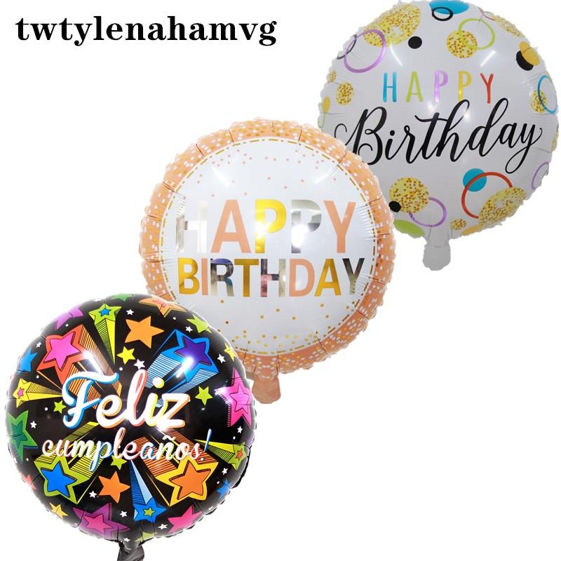 Новые Вечерние воздушные шары из алюминиевой фольги 18 дюймов с днем рождения