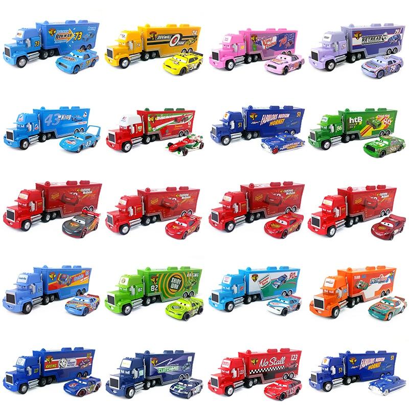 Disney Pixar Cars Mack Uncle Lightning McQueen King Francesco Chick Hicks Hudson Truck & Car Set 1:55 Diecast Model Toy Car Gift