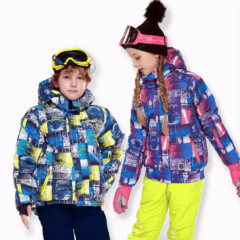 Children Winter Skiing Snowboard Suit Waterproof Skiing Jackets  Boys Girls  Pants Kids Hooded Fleece Inside Ski Clothings Teens
