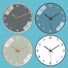 Minimaliste nordique horloge murale salon classique montre murale créative muet Quartz métal cuisine salon décoration AA50ZB