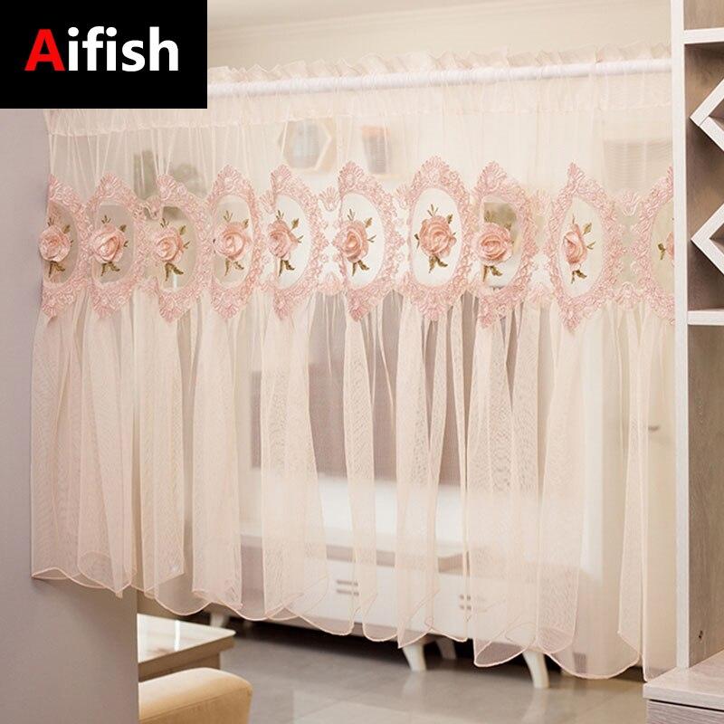الكورية رومانسية خليج نافذة غطاء شاشة الديكور باب صغير المنزلية التقسيم الوردي الأميرة الرياح قصيرة الستائر مقهى تول