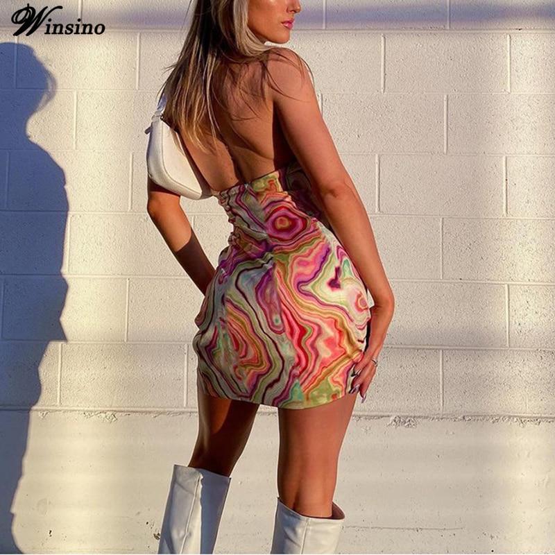 off shoulder self tie waist dress Tie Dye Dress Sexy Backless Halter Dress Women Summer 2021Y2K Fashion Party Club Sleeveless Mini Dresses Off Shoulder Streetwear