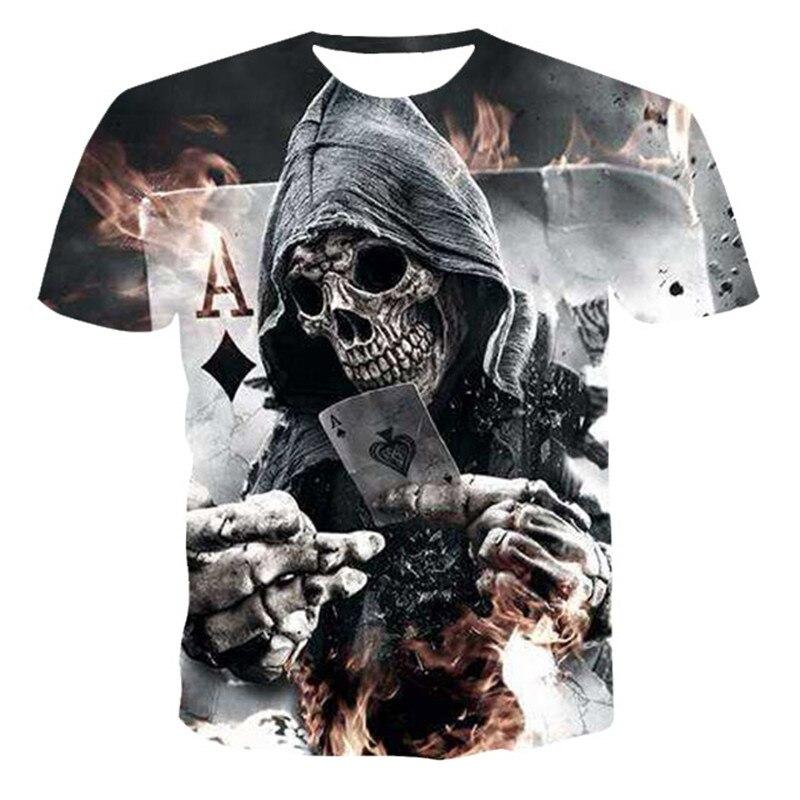NOVEDAD DE VERANO 2020, camiseta para hombre, camiseta de manga corta con estampado de calavera y póker en 3D, camiseta informal Unisex con cuello redondo para la calle