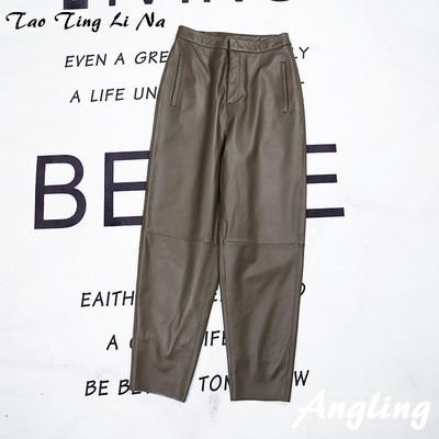 Tao Ting Li Na Women Spring Genuine Real Sheep Leather Pants E54