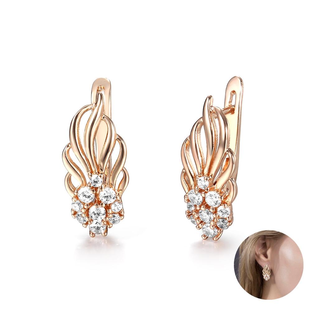 Pendientes de tachuelas para mujer En forma de hoja oro rosa 585 lleno pavimentado claro Zirconia cúbica moda regalos de joyería para boda LGE264