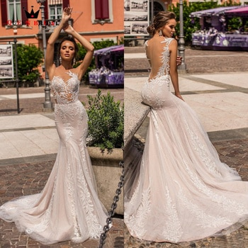 Sexy Mermaid Wedding Dresses Sequins Tulle Lace Appliques Crystal Formal Bridal Gown 2022 New Design Custom Made DS49