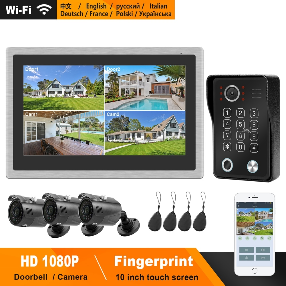 HomeFong WiFi Intercom System Kit IP Video Intercom for Home  10 inch Touch Screen with Fingerprint Unlock Doorbell 1080P Camera