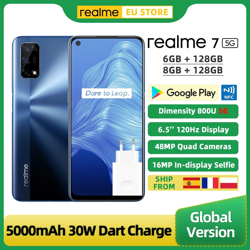 Realme-الهاتف الذكي ، 7 ، ذاكرة الوصول العشوائي 6 جيجابايت ، rom 128 جيجابايت ، 6.5 بوصة ، 48 ميجابكسل ، الهاتف الذكي ، محطة متنقلة ، 5G ، شاشة 120 هرتز ، شح...