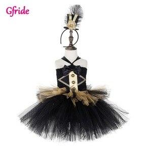 Black Girls Princess Evening Fairy Costume With Hat For Children Birthday Wendding Dress Up Party Dress Vestido Kids Tutu Dress
