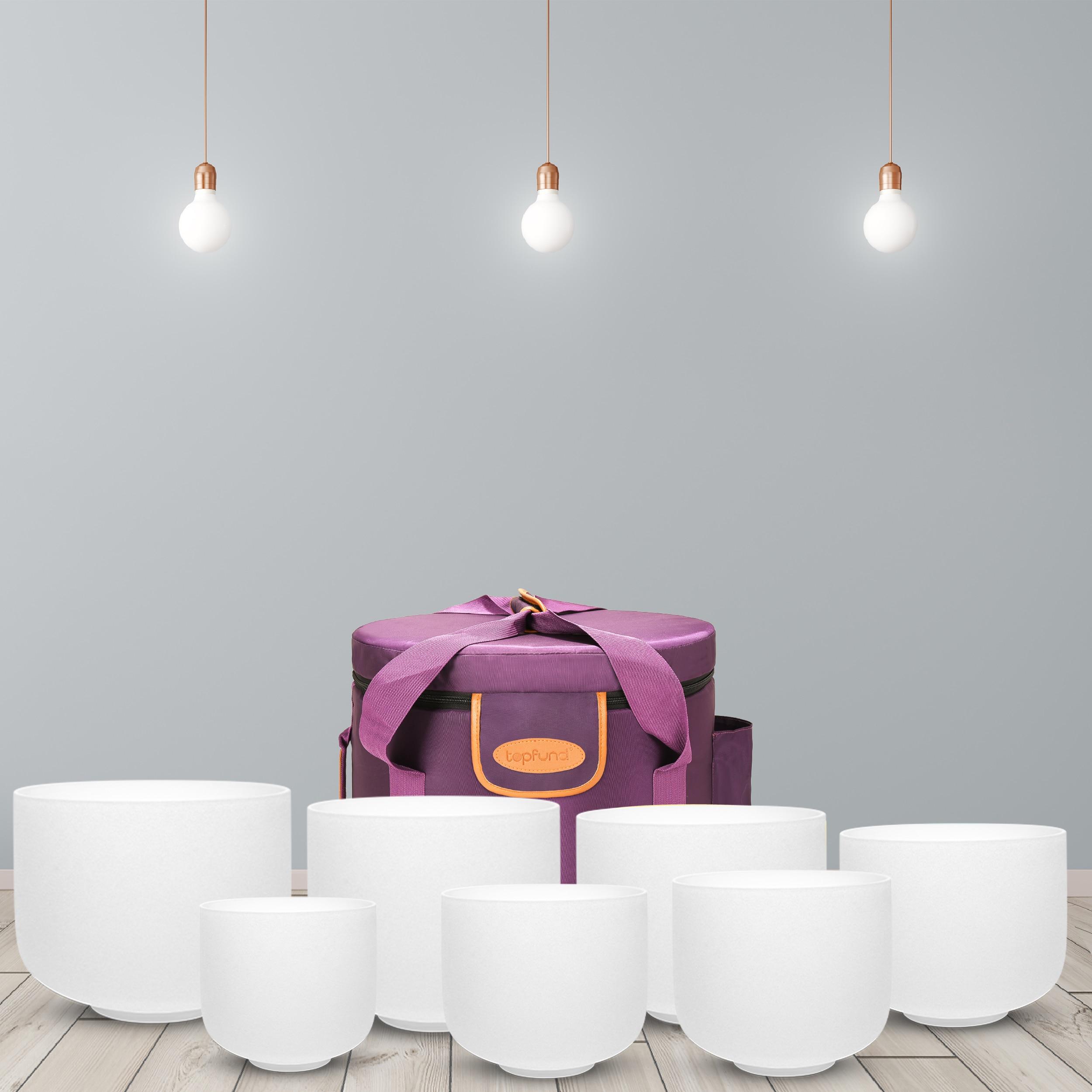 Topbox 6 ''-14 ''شقرا مجموعة من 7 قطعة متجمد الكوارتز الكريستال جرس الموسيقى