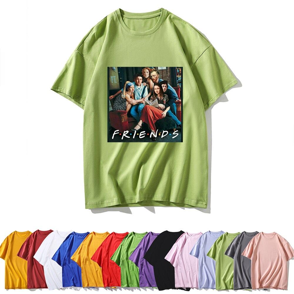 Comfortable breathable T-shirt Women Tshirt FRIENDS Letter Van Gogh Print Womens shirt High Quality Casual O-neck