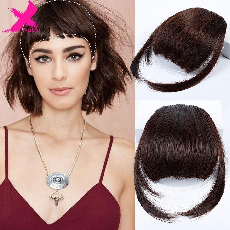 Синтетические волосы Xnair, высокая температура, опрятные передние накладные кисточки, тонкие тупые клипсы для женщин, клипса для челки, тупые
