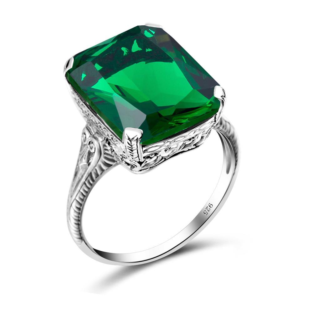 Anillos de piedras preciosas de Esmeralda auténtica Szjinao para mujer, joyería de compromiso de boda, joyería fina de Plata de Ley 925, fábrica Ringen