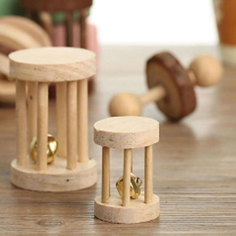 Slatke prirodne drvene igračke borove bučice valjak za zvonce za - Kućni ljubimci - Foto 5