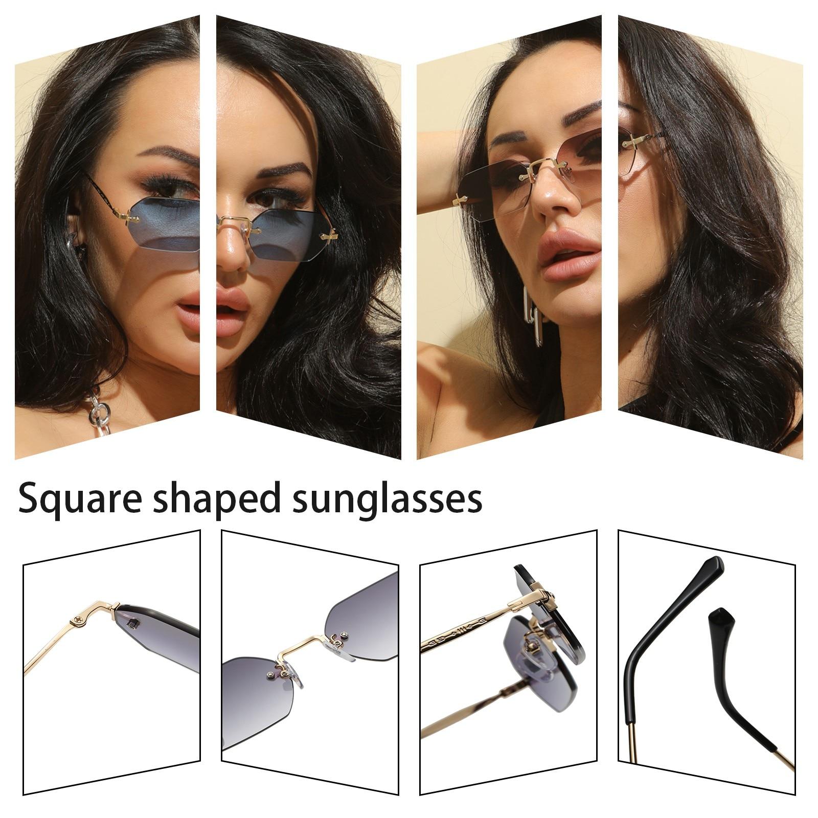 Fashion Rimless Sunglasses Women Vintage Classic Designer Sunglasses Female Metal Polygon Glasses Bl