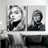 angelina jolie sexy hot movie star super model black white smoking art painting vintage canvas print poster wall home decoration