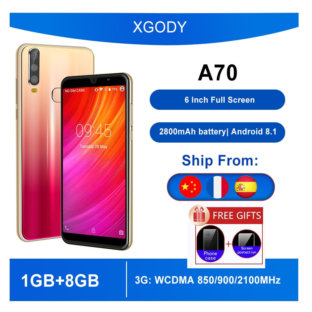 XGODY A70 telephone 3G Smartphone Android 8.1 6