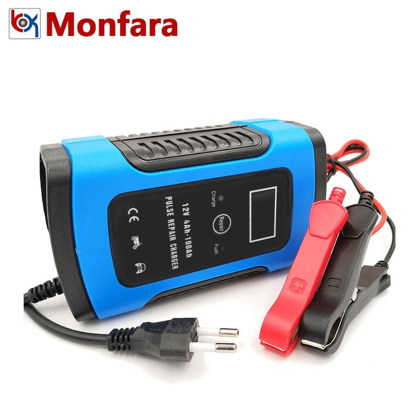 Chargeur de batterie Intelligent LCD 12 V 6A   Rapide, pour moto, acide plomb, batterie AGM GEL, charge intelligente 12 V Volt 6 A AMP