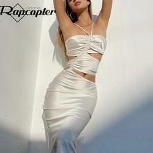 Rapcopter Satin Cut Out Midi Dress Ruched Halter Sundress y2k Prom Elegant Beach Summer Slim Dress W
