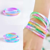 10 pcs silicone bracelet candy colored letters movement bracelet fashion printing rubber wrist strap men and women jewelry
